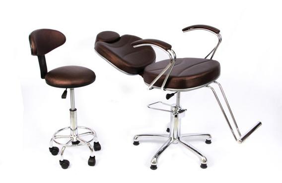 Poltrona Cadeira Reclinável Maquiagem Salão + Mocho + Lombar