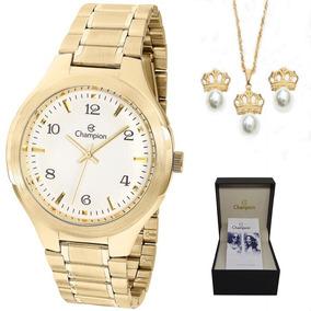 Relógio Champion Feminino Grande Cn20480w + Kit Brinde