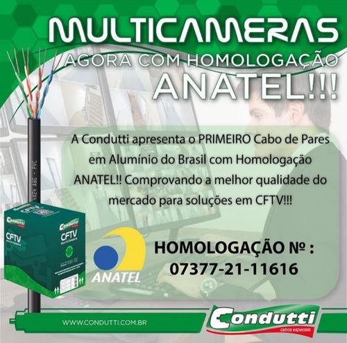 Imagem 1 de 3 de Cabo Rede Multicameras 4paresx24 Cftv Cor Preto 300m.