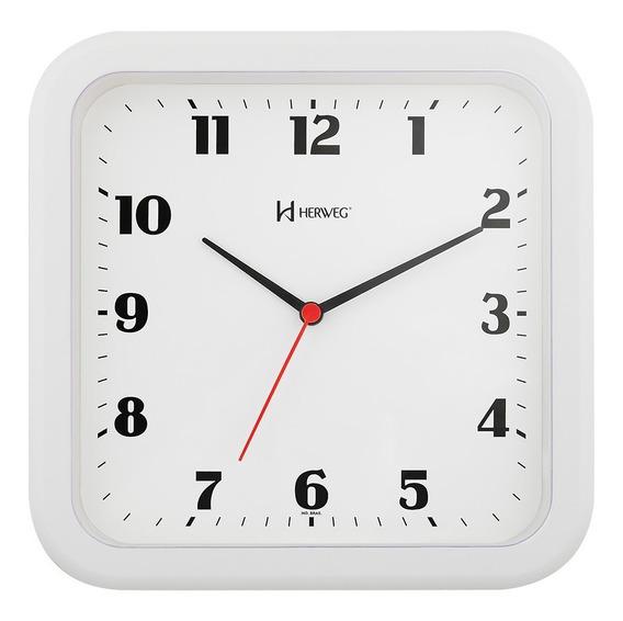 Relógio De Parede Branco Quadrado 23 Cm Herweg 6145