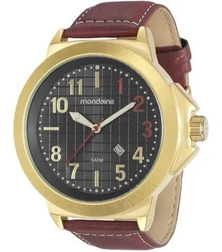 Relógio Mondaine Grande 76499gpmvdh Dourado De Couro Vltrine