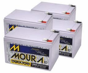 Kit 4 Baterias Moura 12v 7a Alarme, Cerca, Nobreak