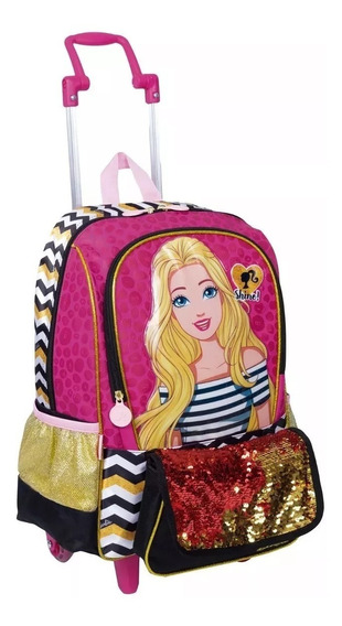 Mochila Infantil Barbie 19z Rodinha M Bolsinha Paetê Sestini