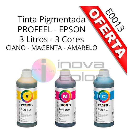 3 Litro De Tinta Epson Pigmentada Profeel E0013 - C - M - Y