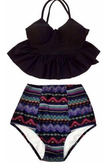 Bikini Cintura Alta Peplum Traje De Baño Tribal Bohemio