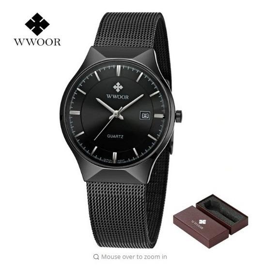 Promoção Relógio Wwoor Na Caixa Unissex Fino Quartzo Luxuoso