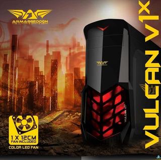 Case Pc Gamer Con 1 Ventilador Luz Atx Ventana, Sin Fuente