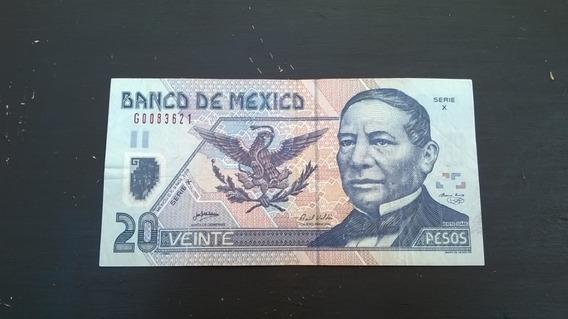 Billete De 20 Pesos, Benito Juárez, Polímero Y De Papel