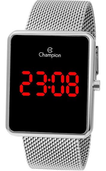 Relógio Feminino Champion Quadrado Prata Digital Grande Top