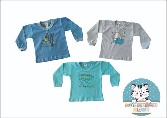 Kit Com 10 Camisetas Bebê Manga Longa Com Estampa Algodão