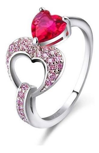 Anel Feminino Vermelho Coração Com Strass Prata Pandora