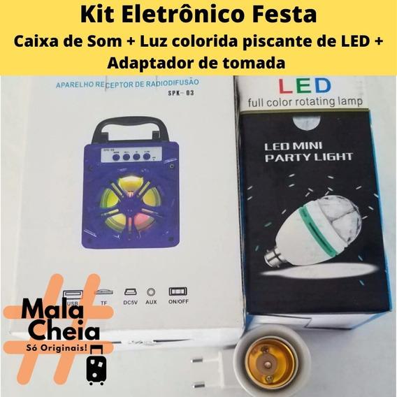Kit Festa Luz Led Giratória+ Caixa De Som+ Interruptor Móvel