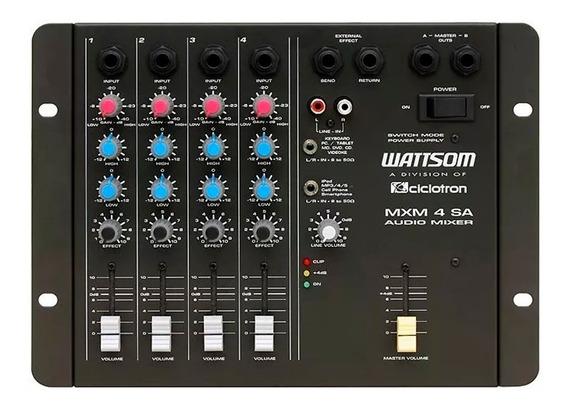 Mesa De Som 4 Canais Wattsom Ciclotron Mxm 4 Sa C/ Garantia