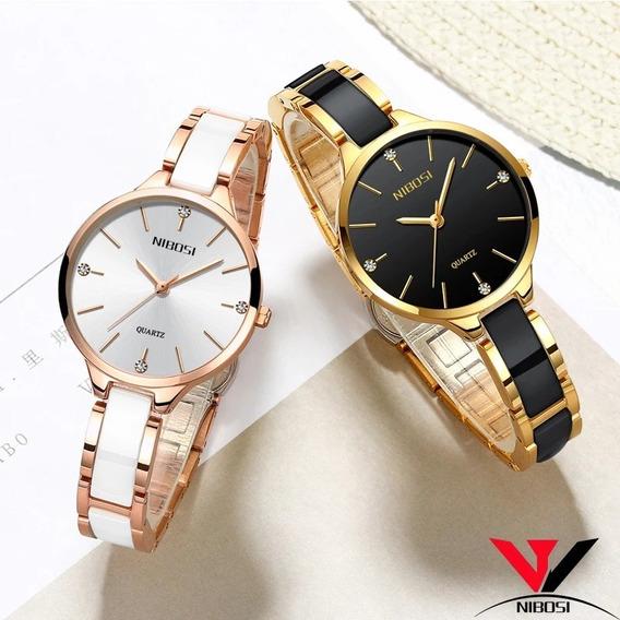 Relógio Feminino Mulheres Nibosi Luxo Original 2330 Caixinha