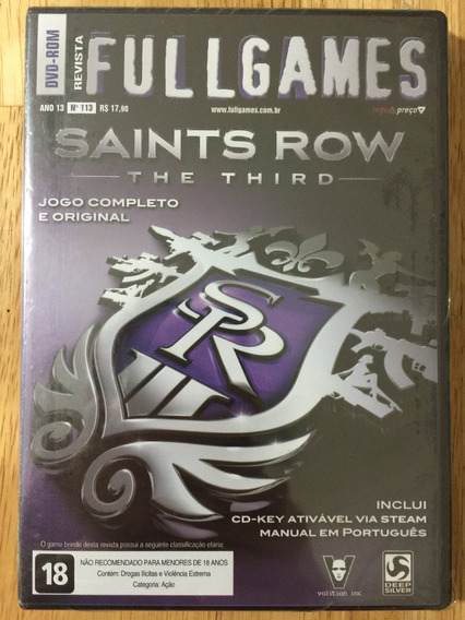 Jogo Pc Dvd Revista Fullgames - Saints Row The Third (2013)