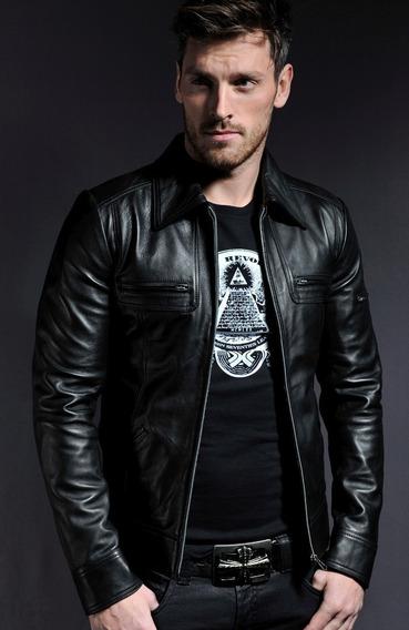 Casaca/chaqueta De Cuero Para Hombre Slim Fit