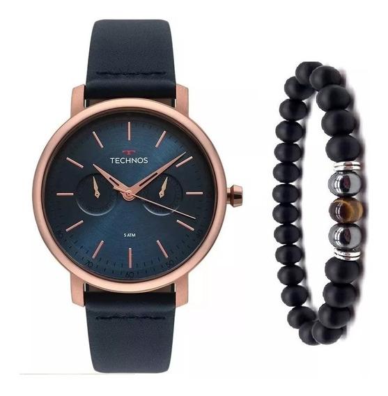 Relógio Technos Masculino Couro Azul 6p25bs/2a Pulseira Onix