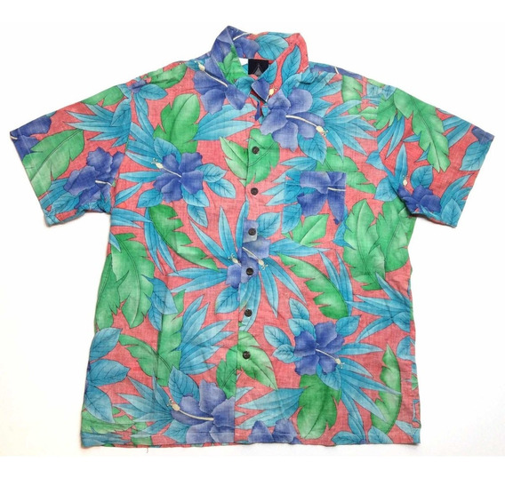 Camisa Hawaiana Tropical Floreada Surf Mujer Usa Xl 955