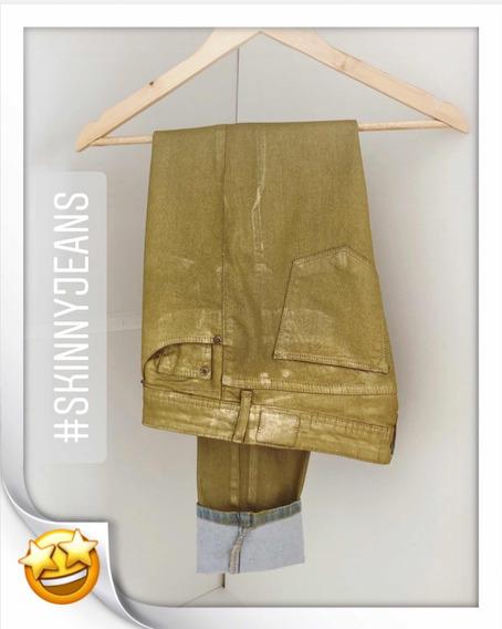 Oh Boy!!! Calça Skinny Dourada Resinada