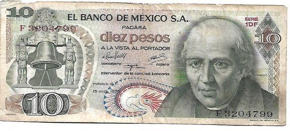 Billete De 10 Pesos Mexicanos De 1975 Serie F 3204799