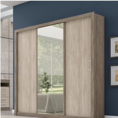 Guarda Roupa Casal Com Espelho 3 Portas Residence Nogal