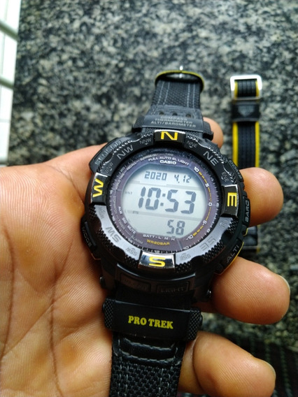 Relógio De Pulso Casio Protrek 3 Sensores Tough Solar