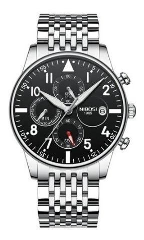 Relógio Masculino Nibosi 2368 Prata/preto *lançamento*