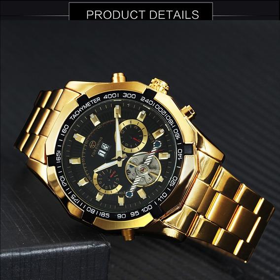 Relógio Automático Forsining Dourado Visor Preto Lindo