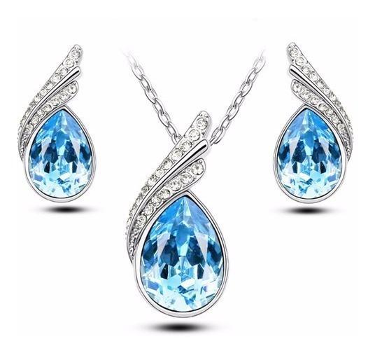 Conjunto Feminino Colar + Brinco Cristal Austríaco Azul Mar