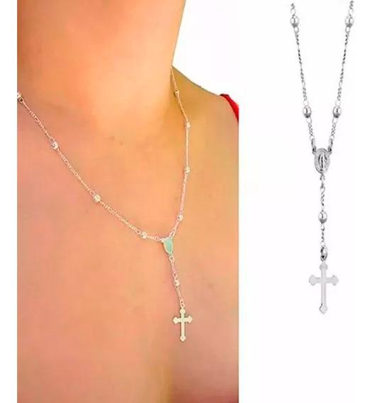 Terço Colar Feminino Crucifixo Prata 925 45cm