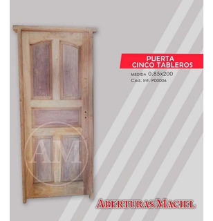 Puerta De Algarrobo Exterior De 5 Tableros