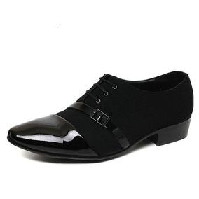 Zapatos Puntudos De Charol Y Gamuza Con Decoración De Hebill