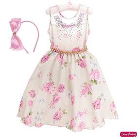 Vestido Festa Infantil Floral Luxo Formatura Tiara 4/16