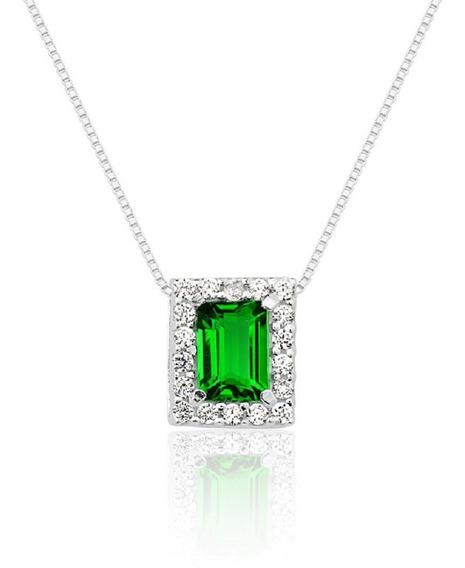 Colar Prata 950 Princesa Retangular Verde Esmeralda