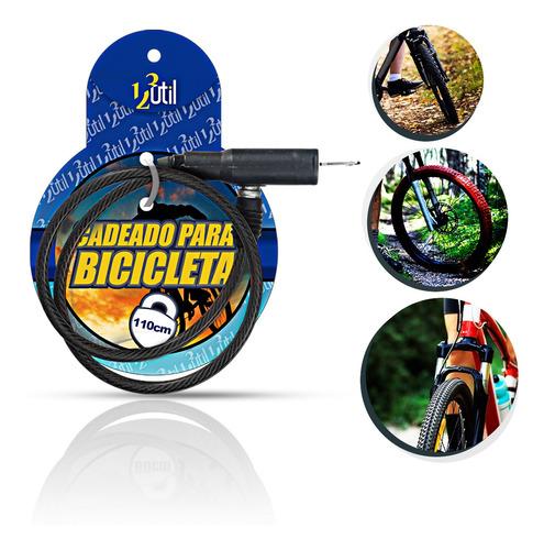 Cadeado Para Bicicleta Com Chave 110cm*08mm Cor:preto