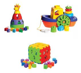 Kit 3 Brinquedos Educativos Didático P/ Crianças +1 Ano