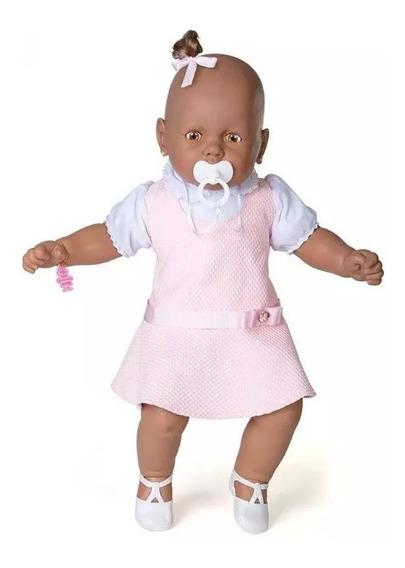 Boneca Estrela Meu Bebê Negra Vestido Rosa Pronta Entrega