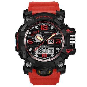 Relogio Sanda Dual Time Red 3 Atm Mega Oferta Estilo G-shock