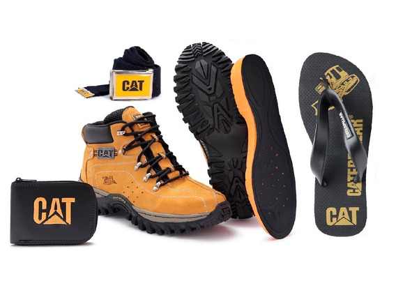 Kit Bota Adventure Caterpillar + Chinelo Promoção Limitada