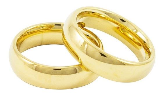 Par Aliança Banhado Ouro Real 18k 6mm - Qualidade - Casament