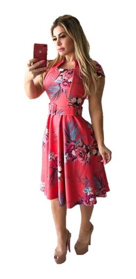 Vestido Midi Modesto Rodado Com Pregas E Cinto Moda Evangélica