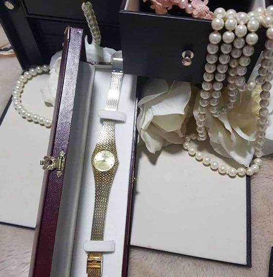 Relógio Dourado Inspiração Rolex