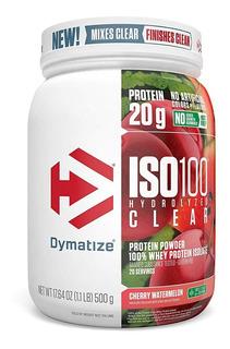 Proteina Dymatize Iso 100 Hydrolized Clear (1.1 Lb) 500g , 20 Porciones Gluten Free Endulzado Con Stevia