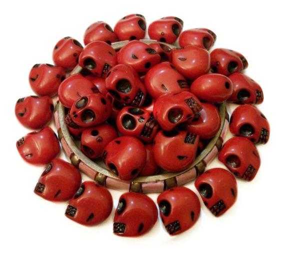 20 Dijes Grandes Calavera Roja