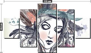 Kit Quadro Decorativo 5 Partes Desenho Mulher Com Penas