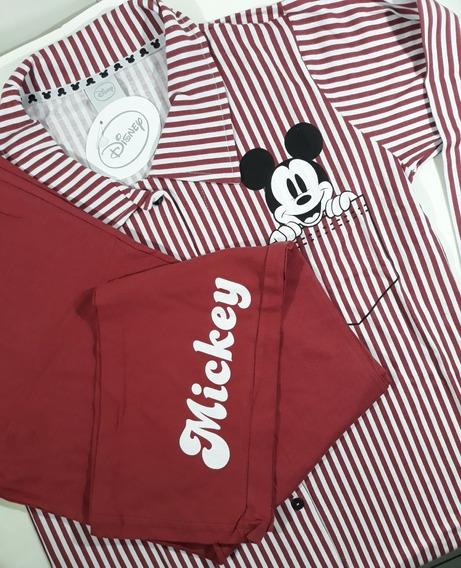 Pijama Feminino Com Camisa De Botões Mickey! Licenciado!