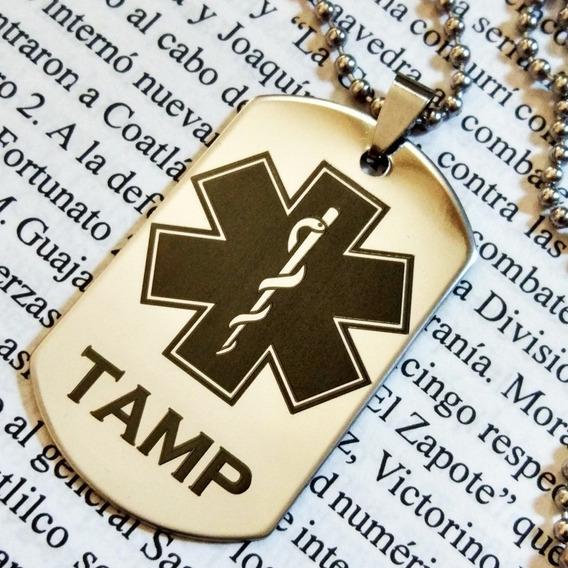 Placa Militar Dije Cadena Collar Paramédico Erum Tamp