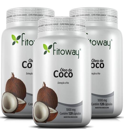 Óleo De Coco 1000mg - Fitoway - 3x120 Cápsulas