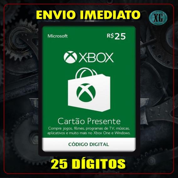 Xbox Gift Card 25 Reais - Código 25 Dígitos [xbox Live]