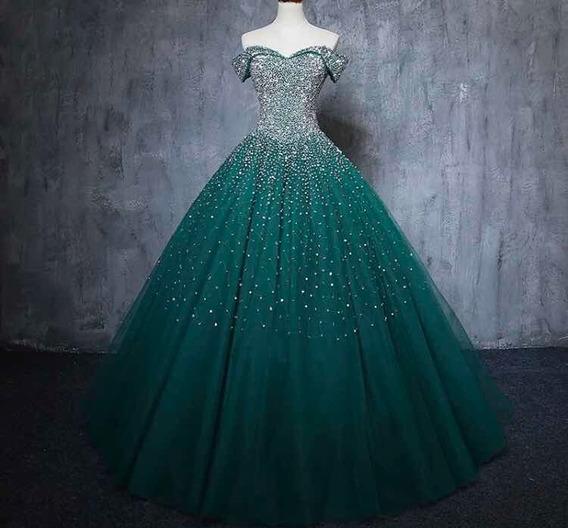Vestido Quinceañera Verde 15 Años Nuevo